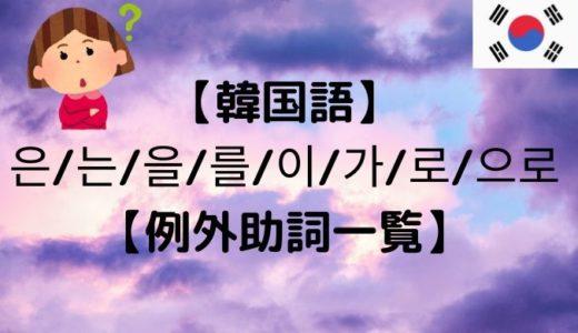 【韓国語】은/는/을/를/이/가/로/으로【例外助詞一覧】